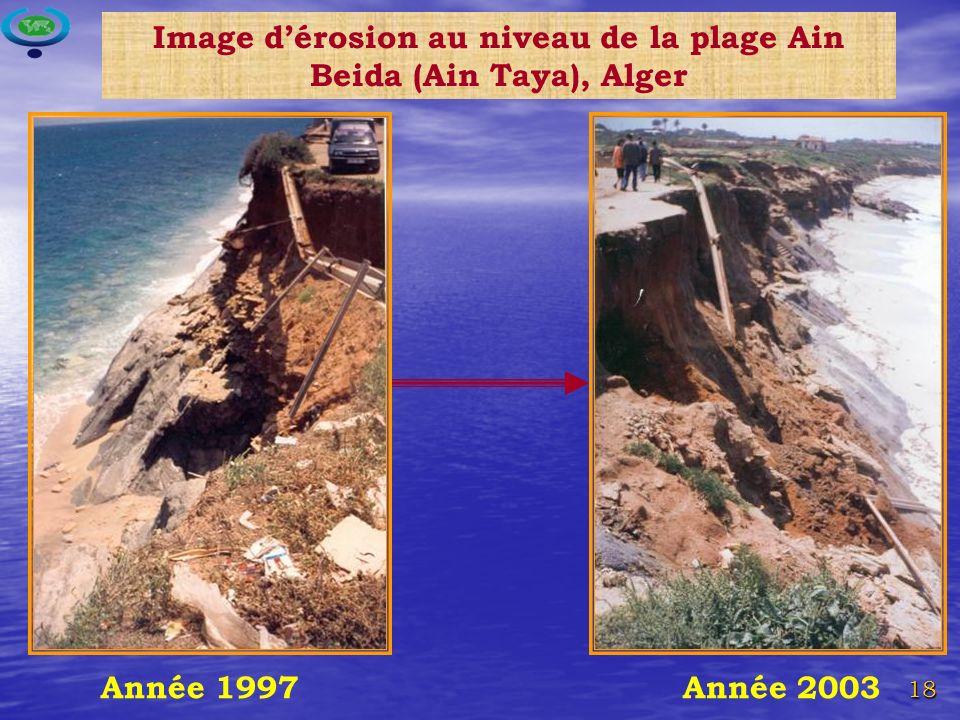 18 Année 2003Année 1997 Image dérosion au niveau de la plage Ain Beida (Ain Taya), Alger