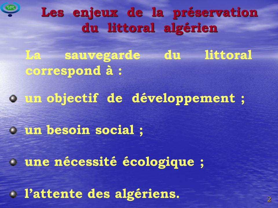 2 Les enjeux de la préservation du littoral algérien un objectif de développement ; un besoin social ; une nécessité écologique ; lattente des algériens.
