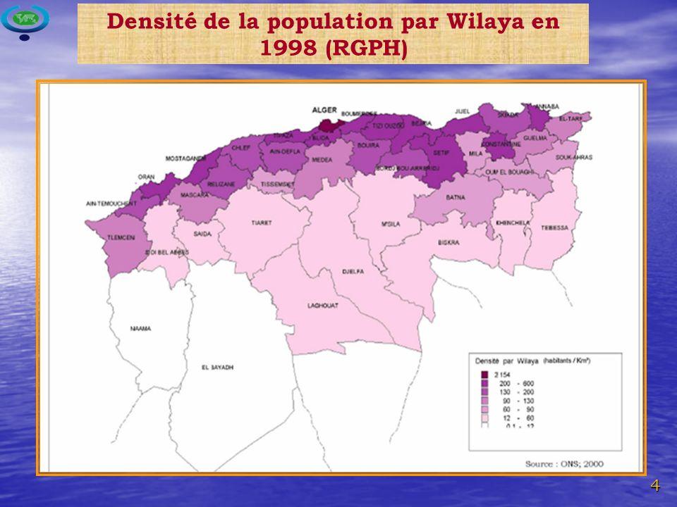 4 Densité de la population par Wilaya en 1998 (RGPH)