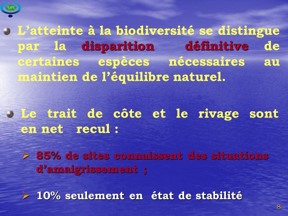 8 Le trait de côte et le rivage sont en net recul : disparition définitive Latteinte à la biodiversité se distingue par la disparition définitive de certaines espèces nécessaires au maintien de léquilibre naturel.