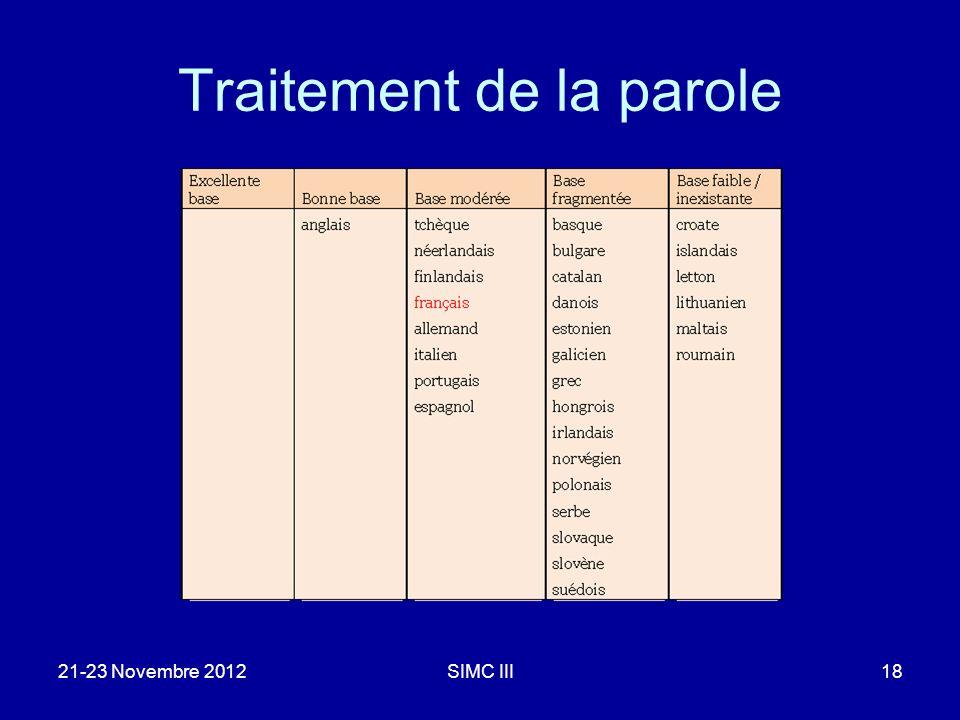 Traitement de la parole 21-23 Novembre 2012SIMC III18