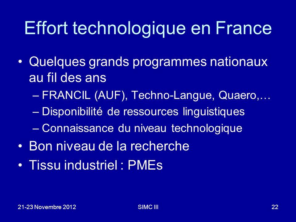 Effort technologique en France Quelques grands programmes nationaux au fil des ans –FRANCIL (AUF), Techno-Langue, Quaero,… –Disponibilité de ressources linguistiques –Connaissance du niveau technologique Bon niveau de la recherche Tissu industriel : PMEs 21-23 Novembre 2012SIMC III22