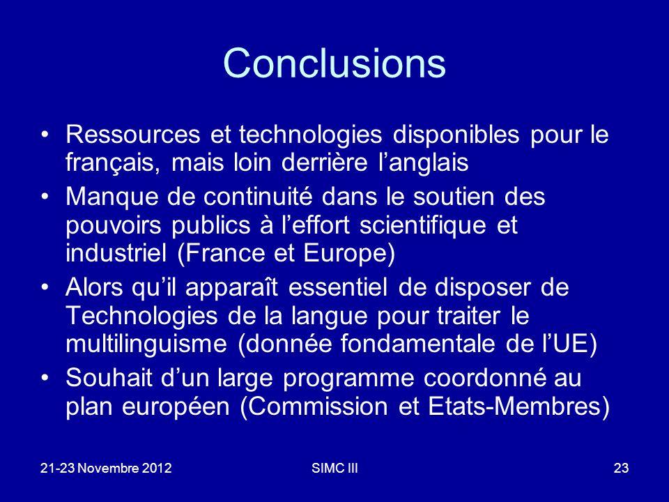 Conclusions Ressources et technologies disponibles pour le français, mais loin derrière langlais Manque de continuité dans le soutien des pouvoirs pub