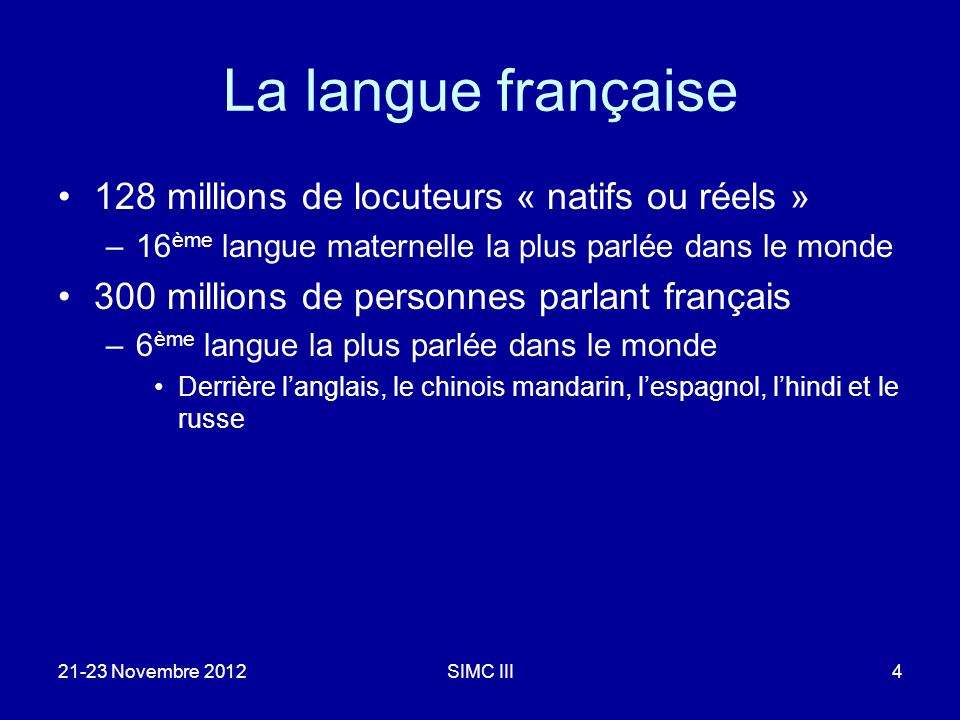 21-23 Novembre 2012SIMC III15 Performances en Traduction Automatique (score BLEU %)