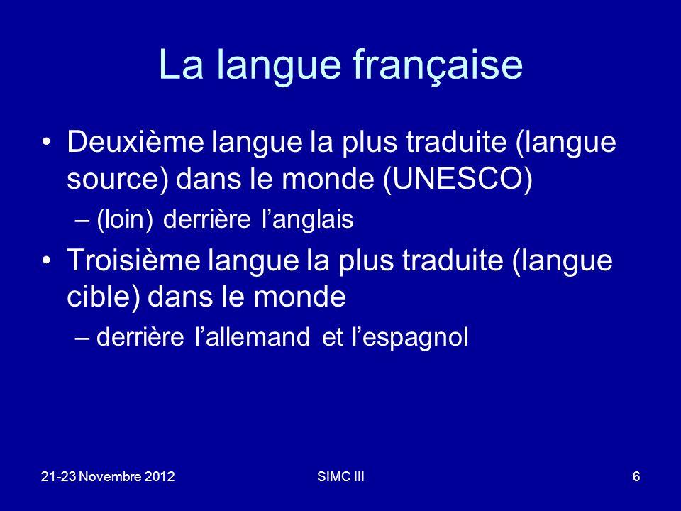 La langue française Deuxième langue la plus traduite (langue source) dans le monde (UNESCO) –(loin) derrière langlais Troisième langue la plus traduit