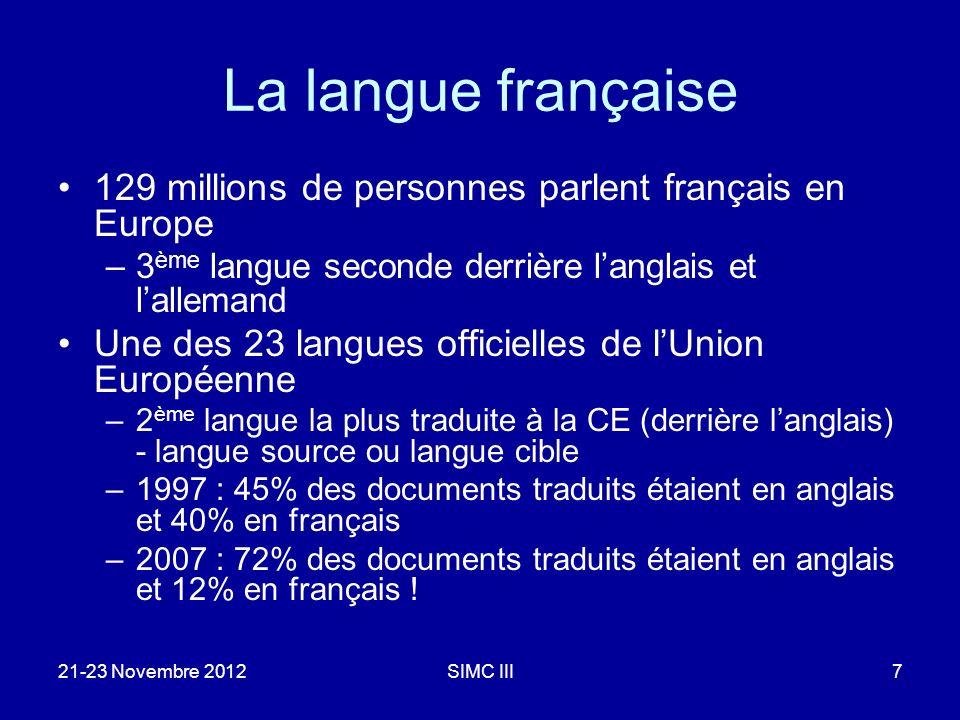 La langue française 129 millions de personnes parlent français en Europe –3 ème langue seconde derrière langlais et lallemand Une des 23 langues officielles de lUnion Européenne –2 ème langue la plus traduite à la CE (derrière langlais) - langue source ou langue cible –1997 : 45% des documents traduits étaient en anglais et 40% en français –2007 : 72% des documents traduits étaient en anglais et 12% en français .