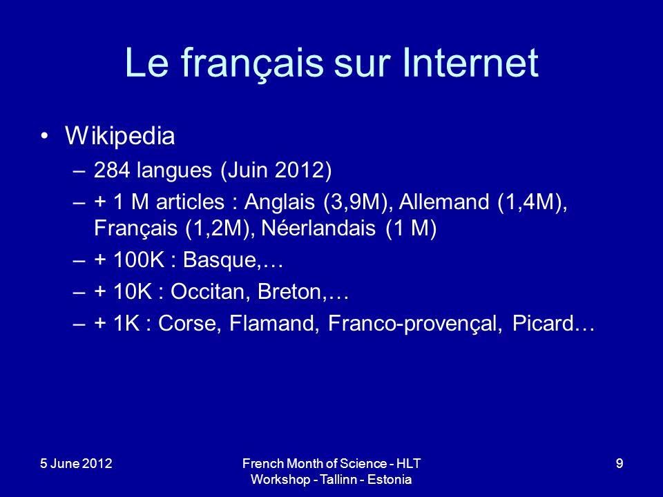 Le français sur Internet Wikipedia –284 langues (Juin 2012) –+ 1 M articles : Anglais (3,9M), Allemand (1,4M), Français (1,2M), Néerlandais (1 M) –+ 100K : Basque,… –+ 10K : Occitan, Breton,… –+ 1K : Corse, Flamand, Franco-provençal, Picard… 5 June 2012French Month of Science - HLT Workshop - Tallinn - Estonia 9
