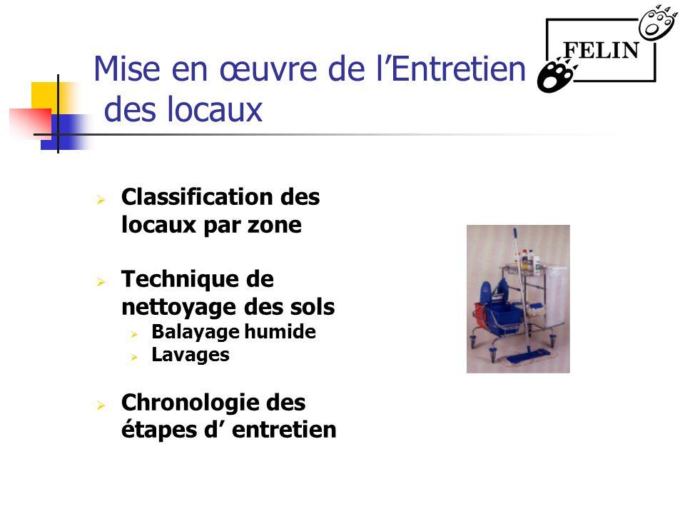 Mise en œuvre de lEntretien des locaux Classification des locaux par zone Technique de nettoyage des sols Balayage humide Lavages Chronologie des étap