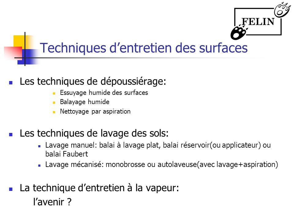 Techniques dentretien des surfaces Les techniques de dépoussiérage: Essuyage humide des surfaces Balayage humide Nettoyage par aspiration Les techniqu