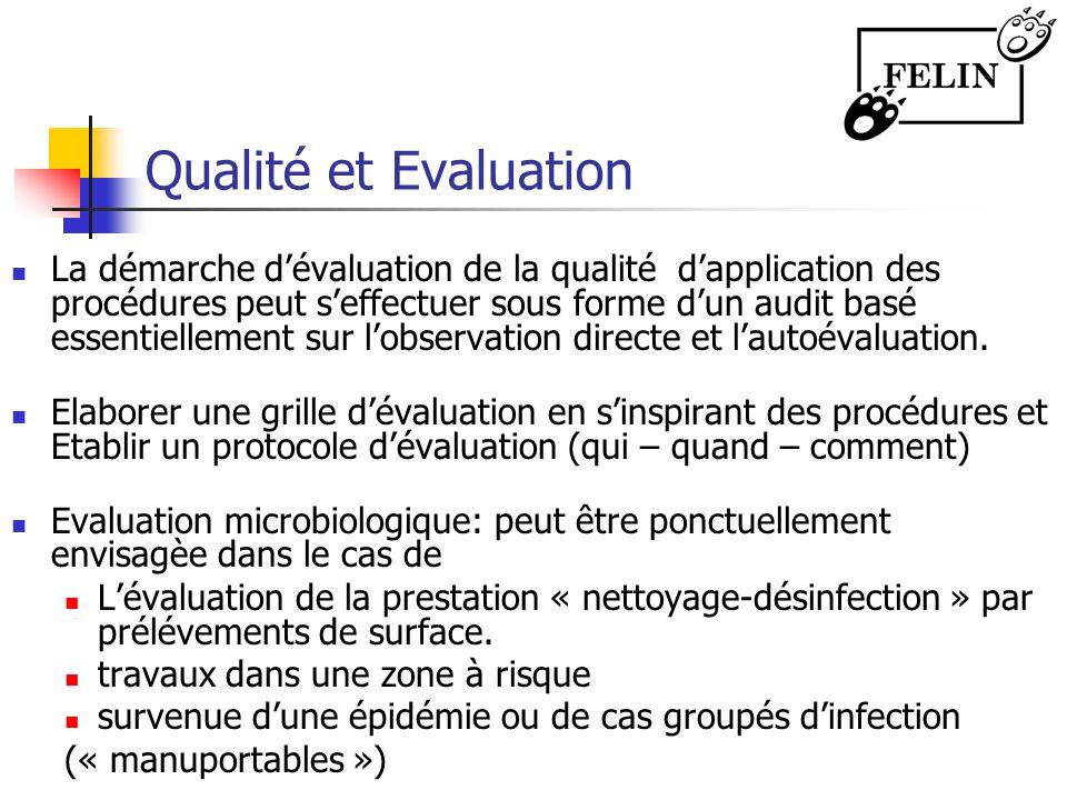 Qualité et Evaluation La démarche dévaluation de la qualité dapplication des procédures peut seffectuer sous forme dun audit basé essentiellement sur