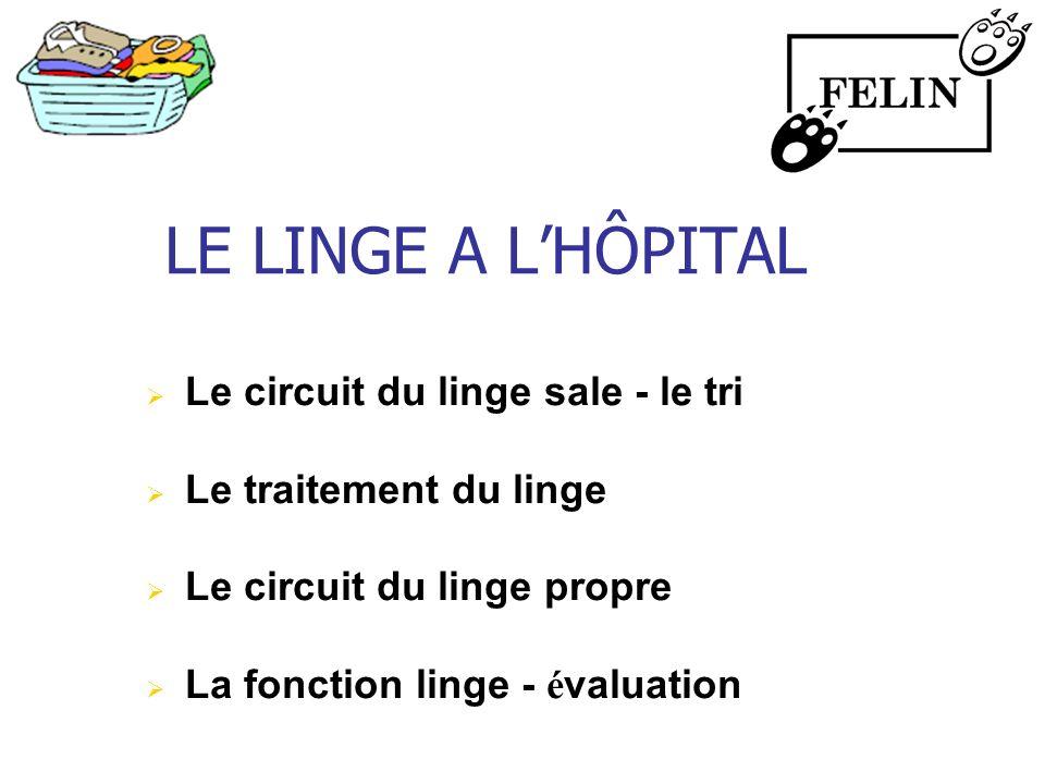 LE LINGE A LHÔPITAL Le circuit du linge sale - le tri Le traitement du linge Le circuit du linge propre La fonction linge - é valuation