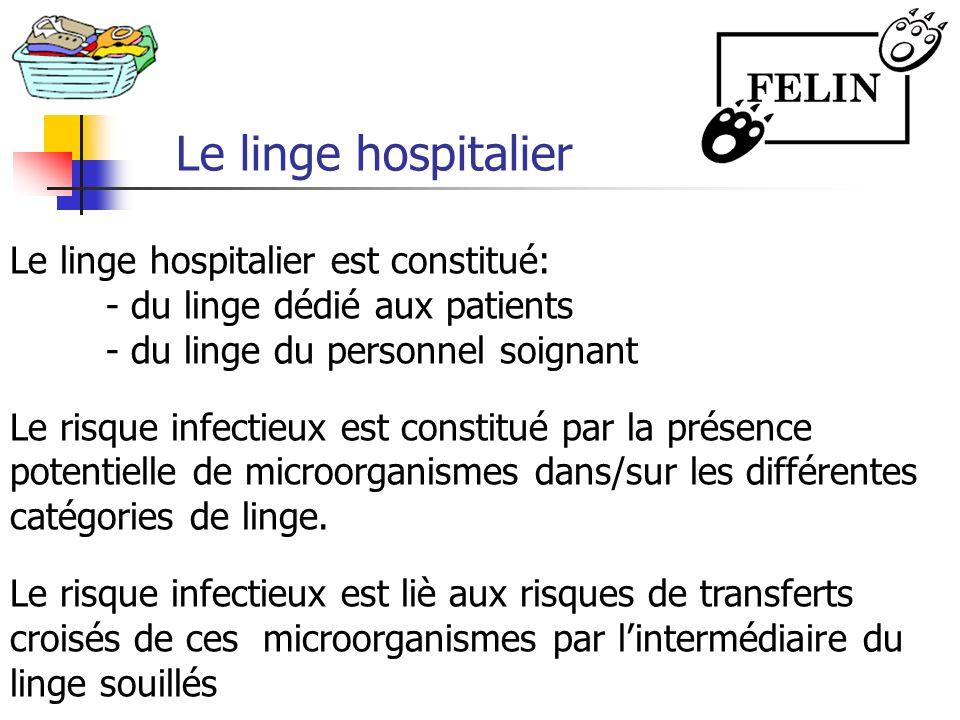 Le linge hospitalier Le linge hospitalier est constitué: - du linge dédié aux patients - du linge du personnel soignant Le risque infectieux est const
