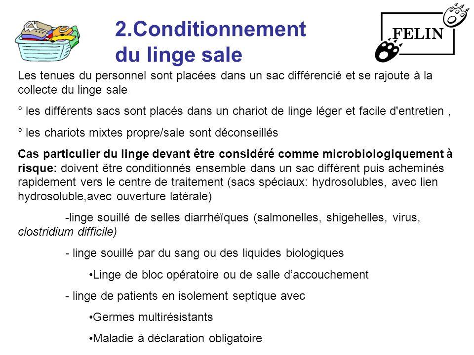 2.Conditionnement du linge sale Les tenues du personnel sont placées dans un sac différencié et se rajoute à la collecte du linge sale ° les différent