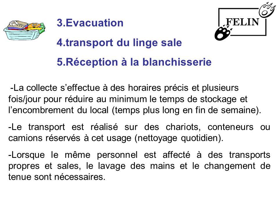 3.Evacuation 4.transport du linge sale 5.Réception à la blanchisserie -La collecte seffectue à des horaires précis et plusieurs fois/jour pour réduire