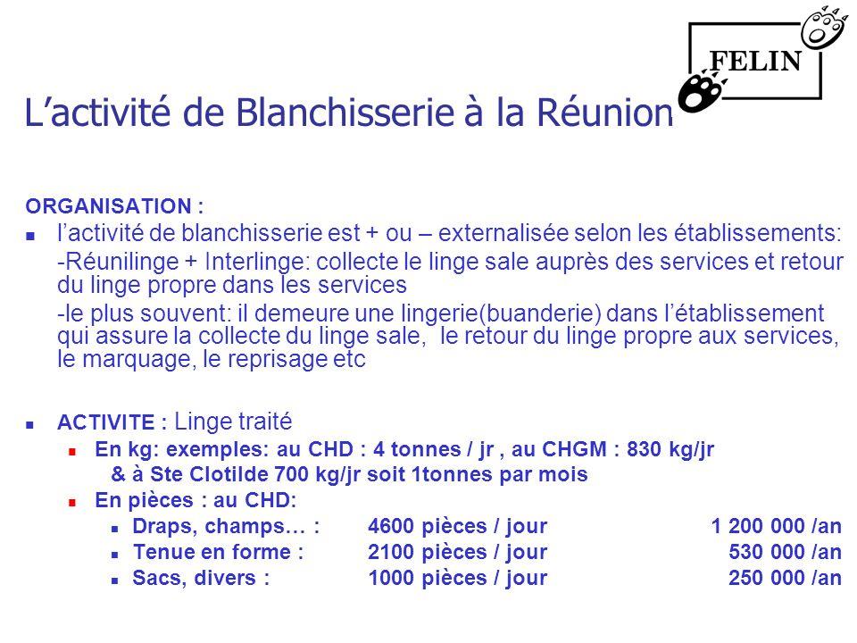 Lactivité de Blanchisserie à la Réunion ORGANISATION : lactivité de blanchisserie est + ou – externalisée selon les établissements: -Réunilinge + Inte