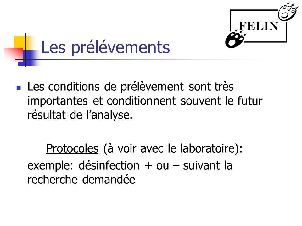 Les prélévements Les conditions de prélèvement sont très importantes et conditionnent souvent le futur résultat de lanalyse. Protocoles (à voir avec l