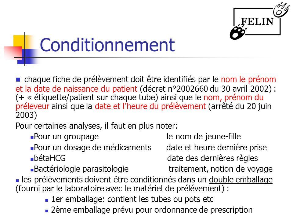 Conditionnement chaque fiche de prélèvement doit être identifiés par le nom le prénom et la date de naissance du patient (décret n°2002660 du 30 avril