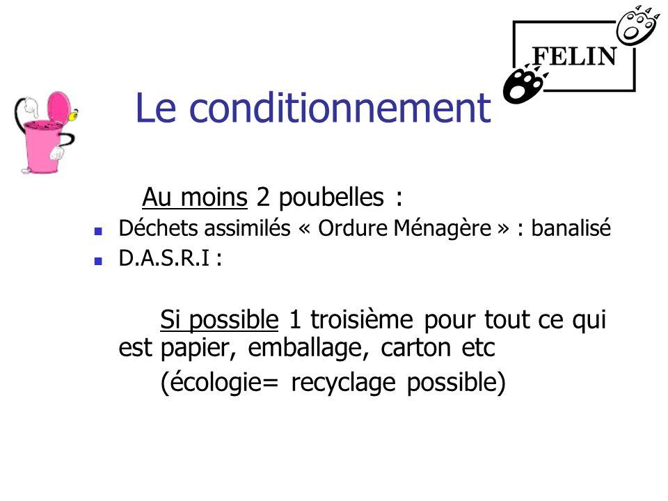 Le conditionnement Au moins 2 poubelles : Déchets assimilés « Ordure Ménagère » : banalisé D.A.S.R.I : Si possible 1 troisième pour tout ce qui est pa