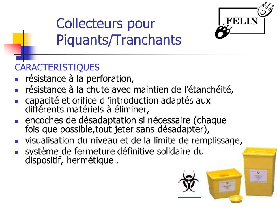 Collecteurs pour Piquants/Tranchants CARACTERISTIQUES résistance à la perforation, résistance à la chute avec maintien de létanchéité, capacité et ori
