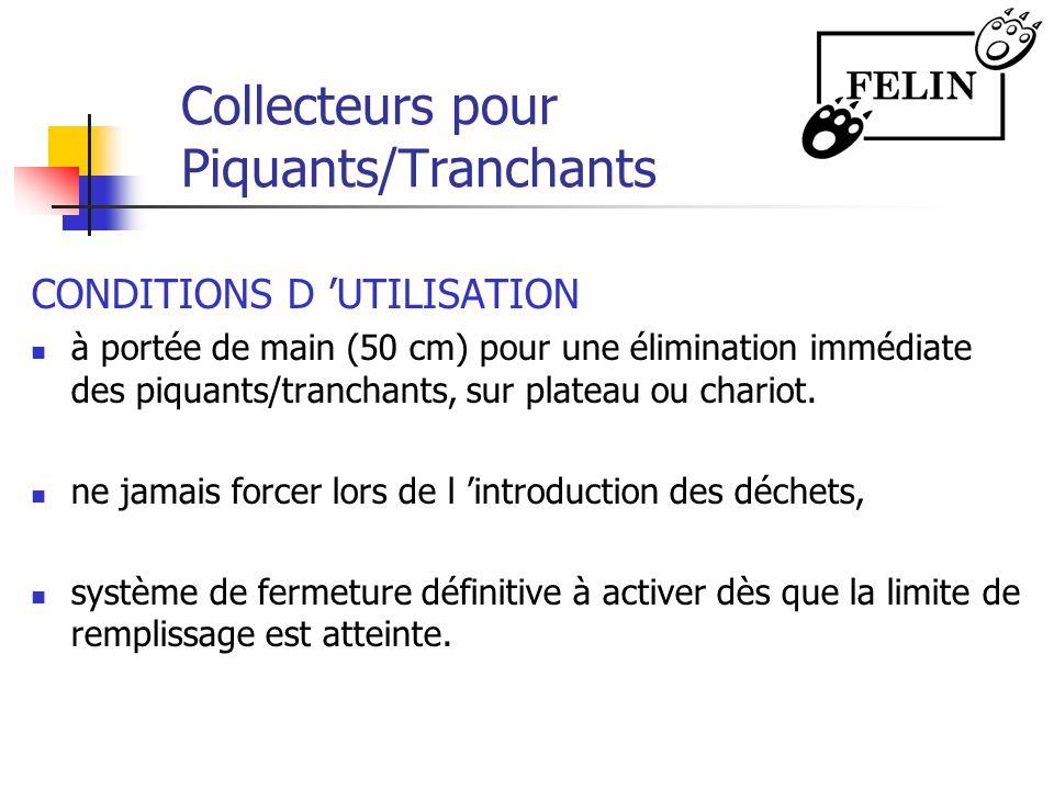 Collecteurs pour Piquants/Tranchants CONDITIONS D UTILISATION à portée de main (50 cm) pour une élimination immédiate des piquants/tranchants, sur pla