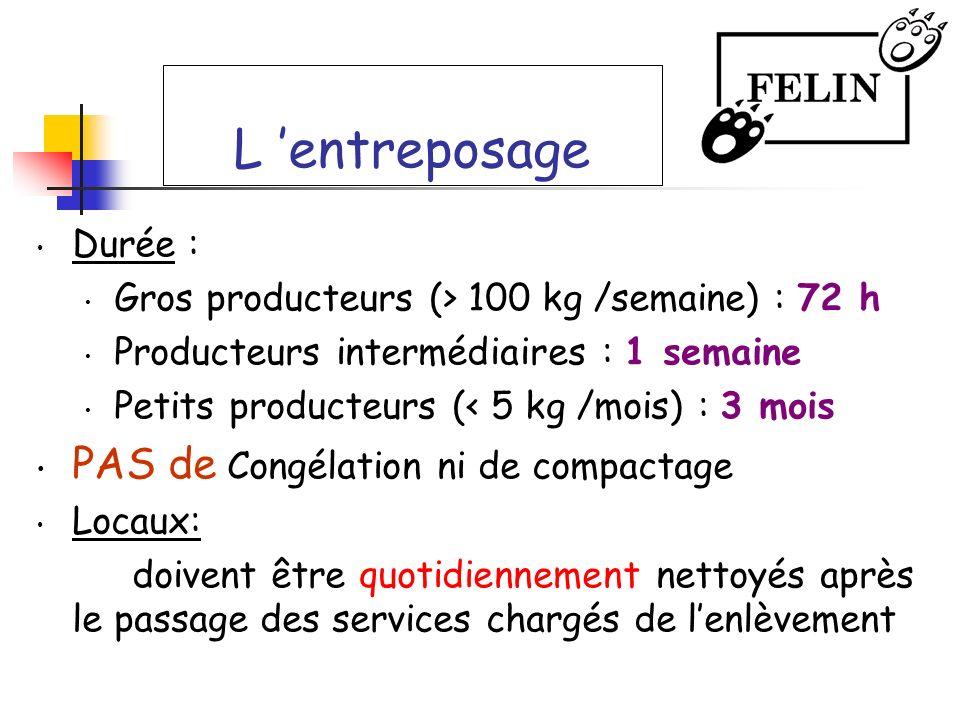 L entreposage Durée : Gros producteurs (> 100 kg /semaine) : 72 h Producteurs intermédiaires : 1 semaine Petits producteurs (< 5 kg /mois) : 3 mois PA