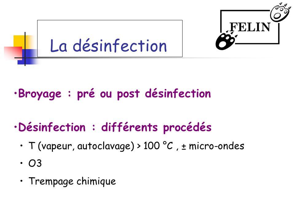 La désinfection Broyage : pré ou post désinfection Désinfection : différents procédés T (vapeur, autoclavage) > 100 °C, ± micro-ondes O3 Trempage chim