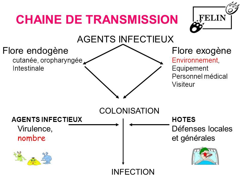 CHAINE DE TRANSMISSION AGENTS INFECTIEUX Flore endogèneFlore exogène cutanée, oropharyngéeEnvironnement, Intestinale Equipement Personnel médical Visi