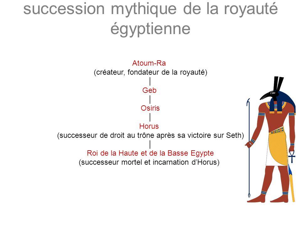 succession mythique de la royauté égyptienne Atoum-Ra (créateur, fondateur de la royauté) Geb Osiris Horus (successeur de droit au trône après sa vict