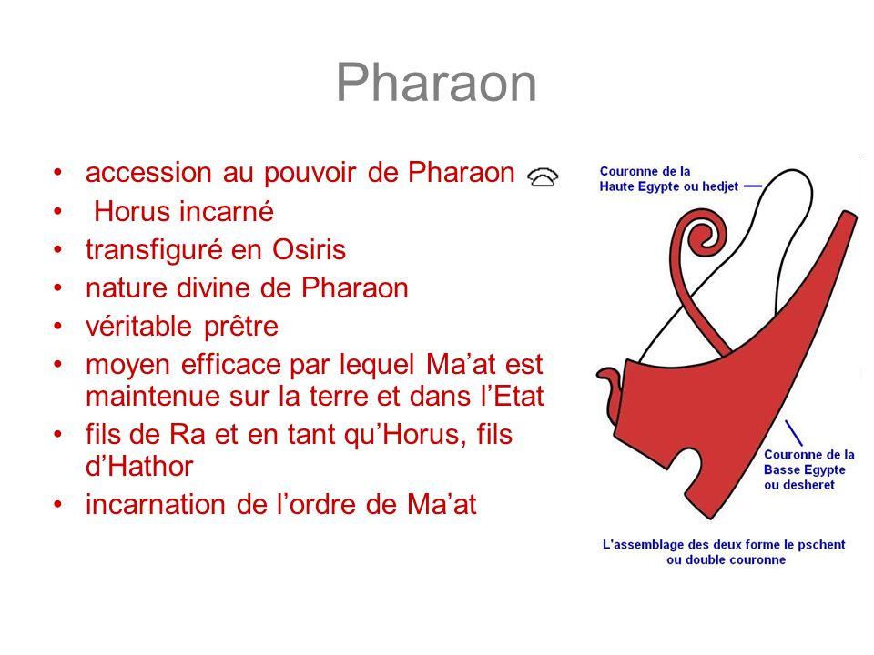 Pharaon accession au pouvoir de Pharaon Horus incarné transfiguré en Osiris nature divine de Pharaon véritable prêtre moyen efficace par lequel Maat e