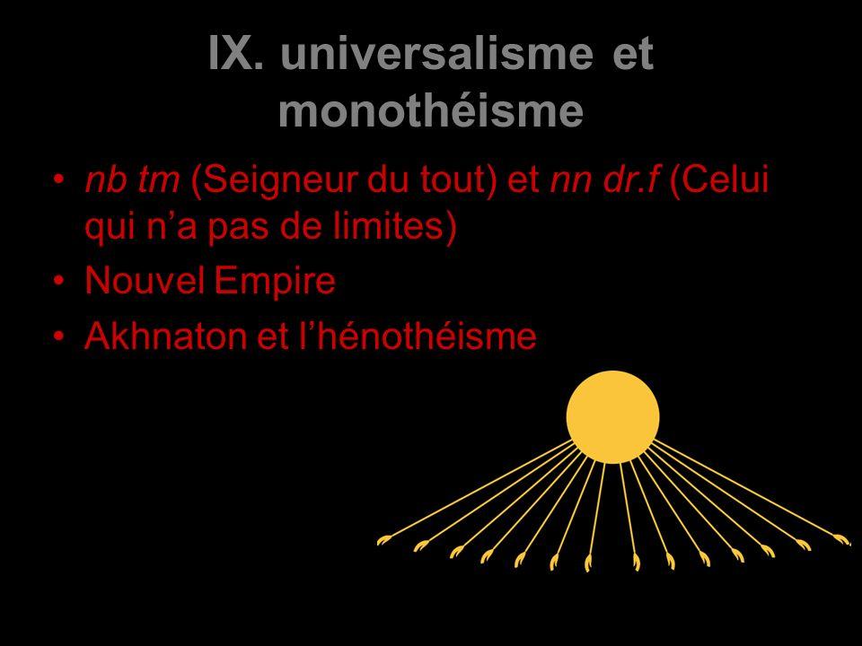 IX. universalisme et monothéisme nb tm (Seigneur du tout) et nn dr.f (Celui qui na pas de limites) Nouvel Empire Akhnaton et lhénothéisme