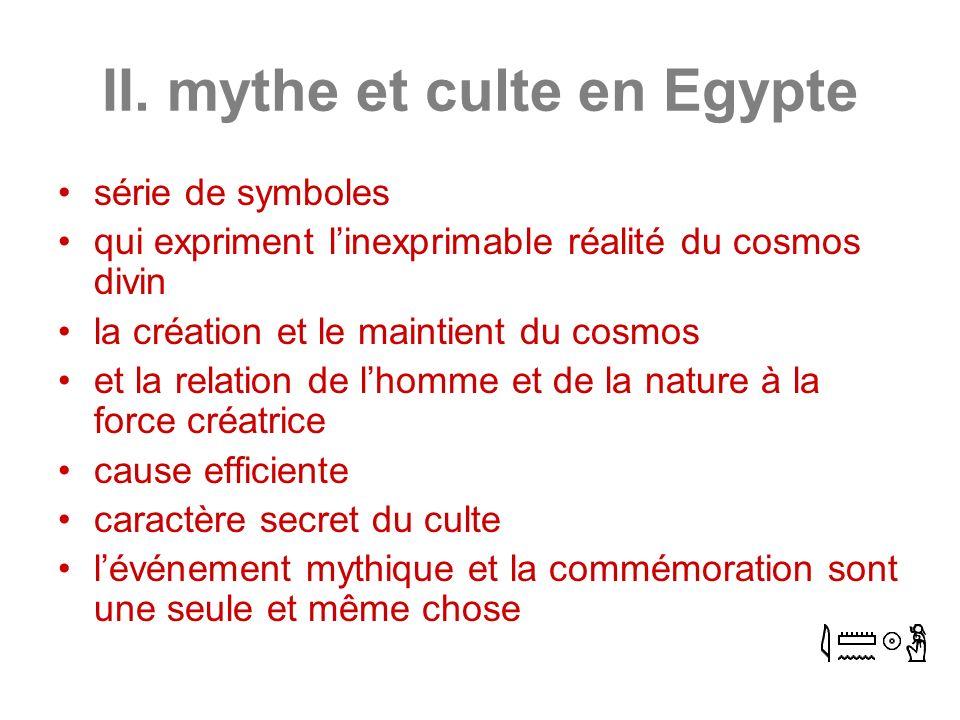 II. mythe et culte en Egypte série de symboles qui expriment linexprimable réalité du cosmos divin la création et le maintient du cosmos et la relatio