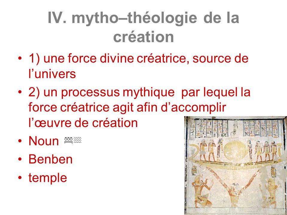 IV. mytho–théologie de la création 1) une force divine créatrice, source de lunivers 2) un processus mythique par lequel la force créatrice agit afin