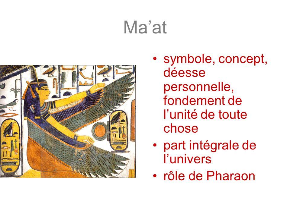 Maat symbole, concept, déesse personnelle, fondement de lunité de toute chose part intégrale de lunivers rôle de Pharaon