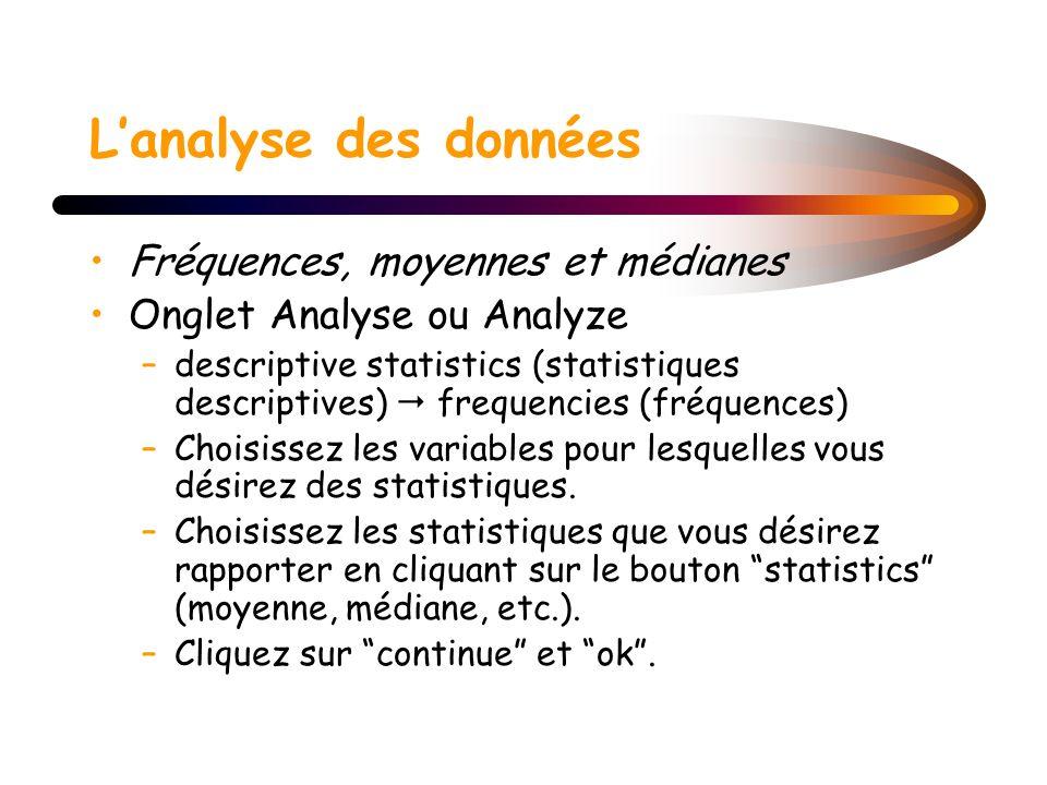Lanalyse des données Fréquences, moyennes et médianes Onglet Analyse ou Analyze –descriptive statistics (statistiques descriptives) frequencies (fréqu