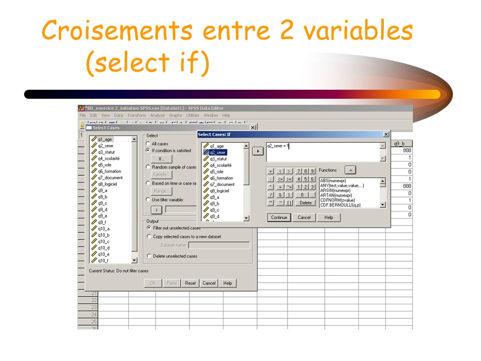Croisements entre 2 variables (select if)