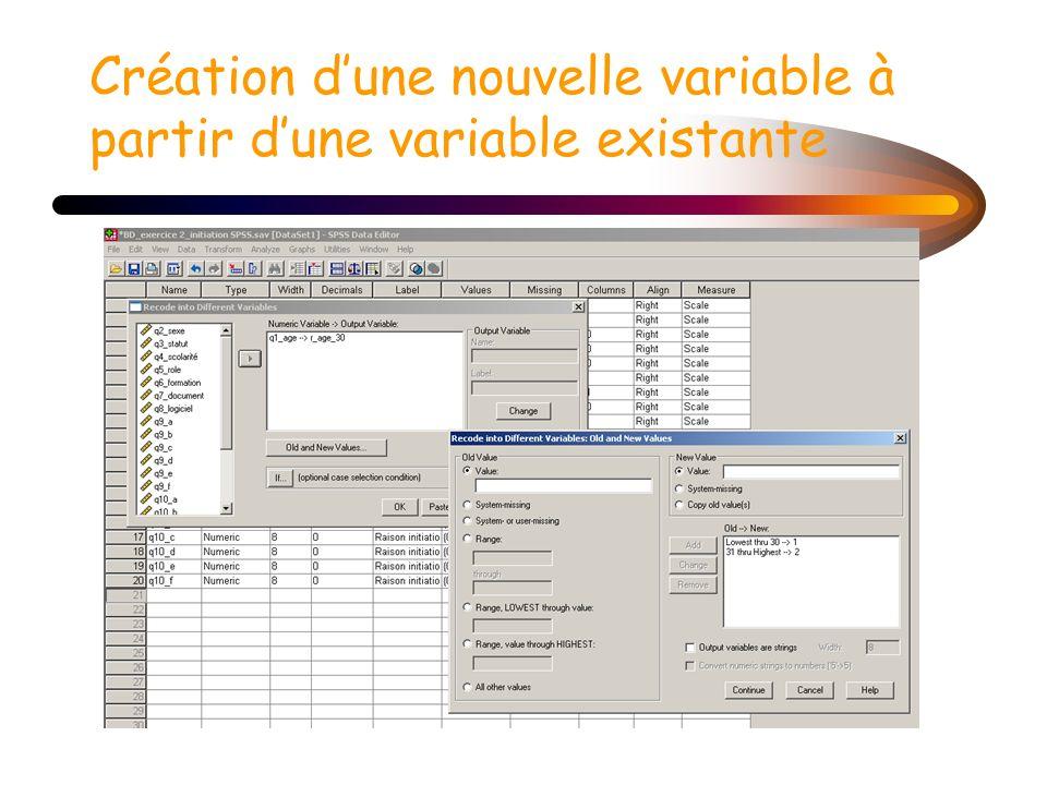 Création dune nouvelle variable à partir dune variable existante