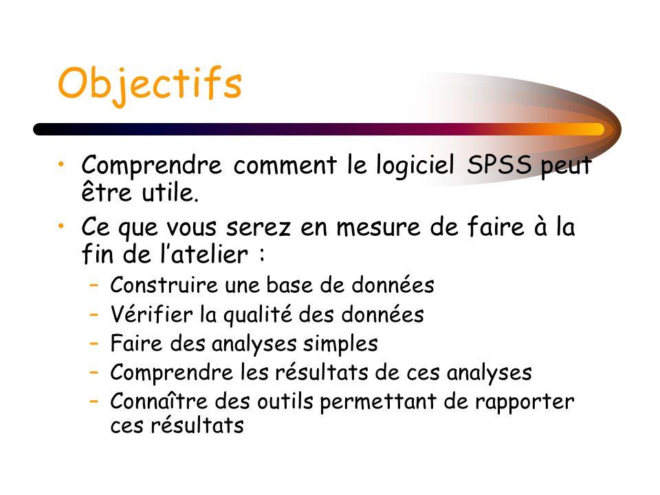 Objectifs Comprendre comment le logiciel SPSS peut être utile. Ce que vous serez en mesure de faire à la fin de latelier : –Construire une base de don