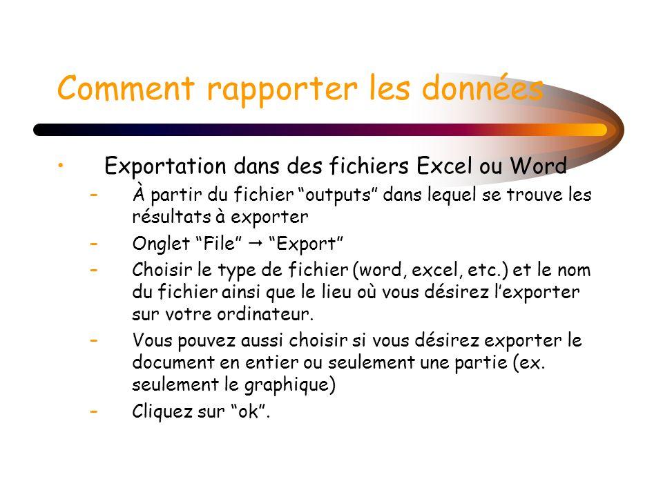 Exportation dans des fichiers Excel ou Word –À partir du fichier outputs dans lequel se trouve les résultats à exporter –Onglet File Export –Choisir l