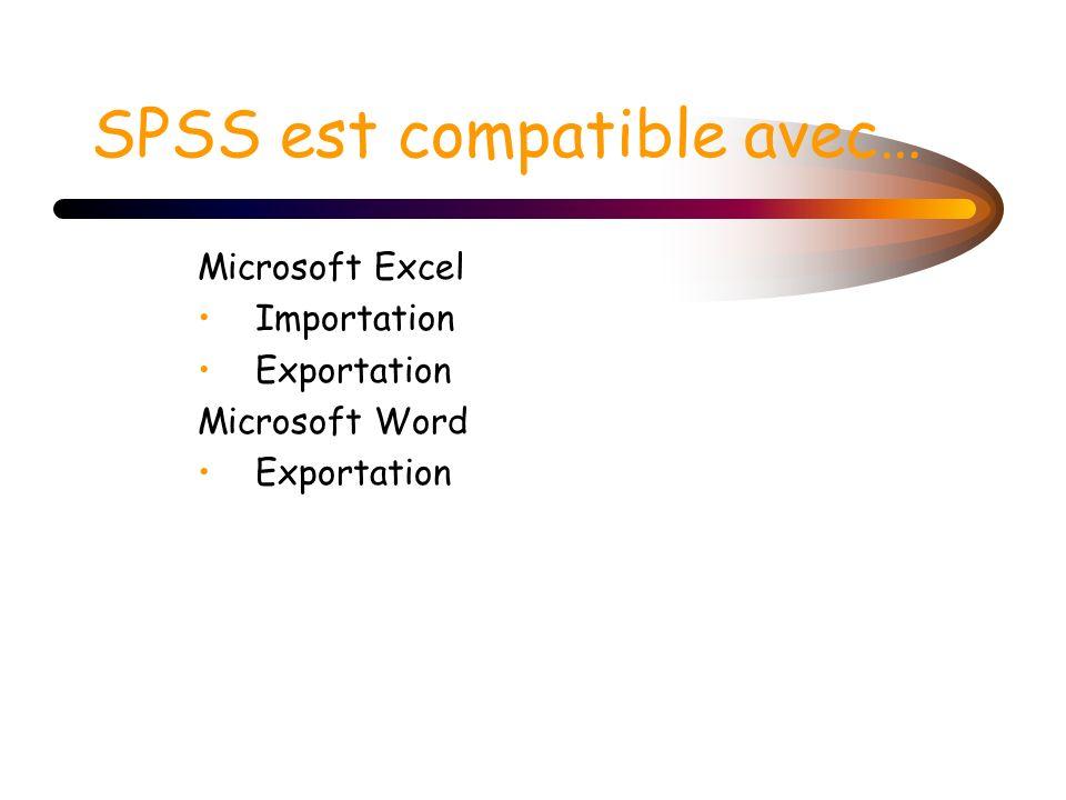 SPSS est compatible avec… Microsoft Excel Importation Exportation Microsoft Word Exportation