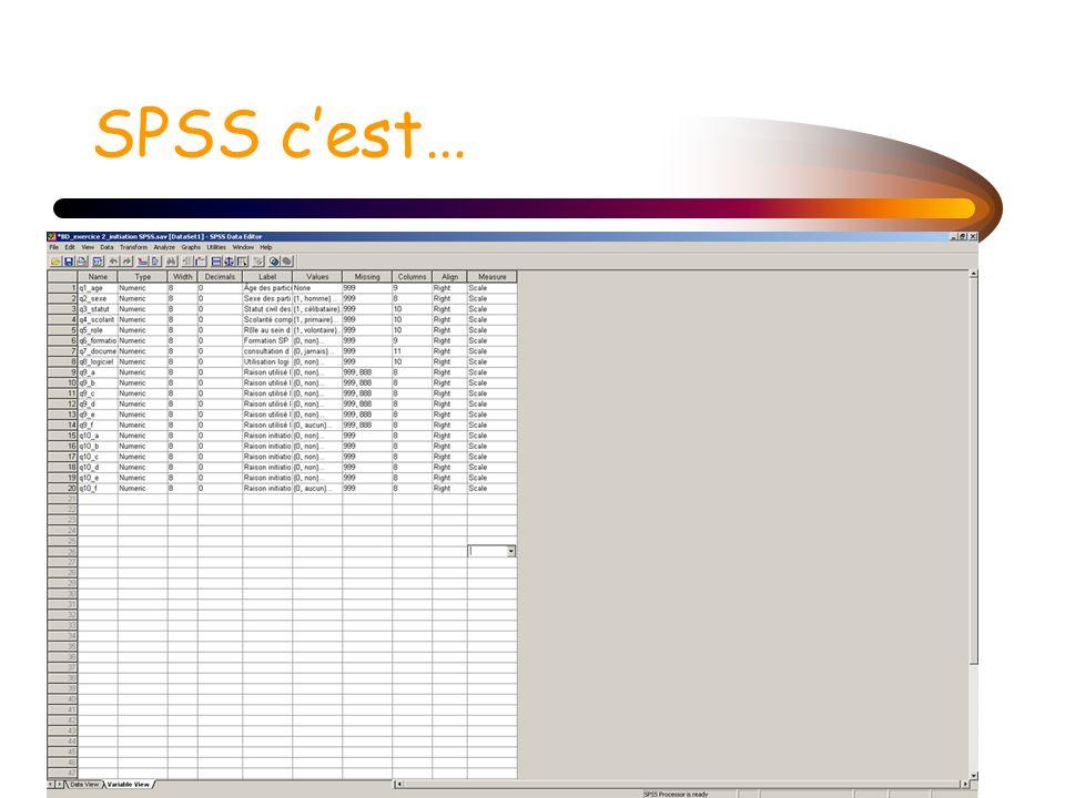 Programmation de base de données avec SPSS Préparation du questionnaire (nom des variables; étiquettes) Codification des valeurs Programmation dans SPSS (variable view) 1.Nom de la variable 2.Type de variable 3.Largeur des colonnes 4.Décimal 5.Libeller de la variable (label) 6.Valeurs 7.Données manquantes *N.B.