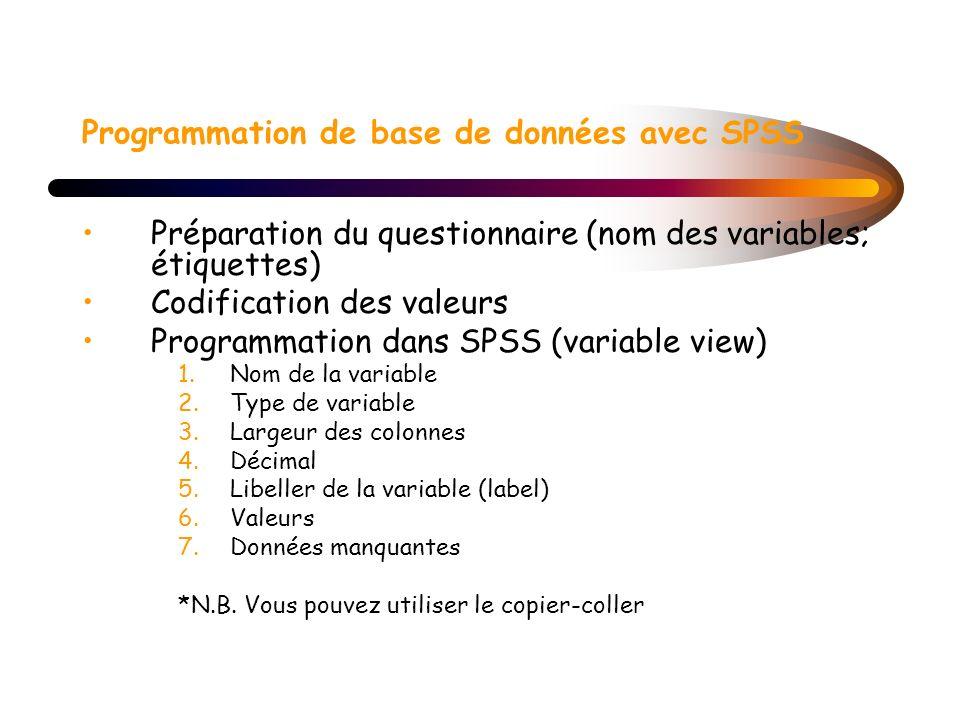 Programmation de base de données avec SPSS Préparation du questionnaire (nom des variables; étiquettes) Codification des valeurs Programmation dans SP