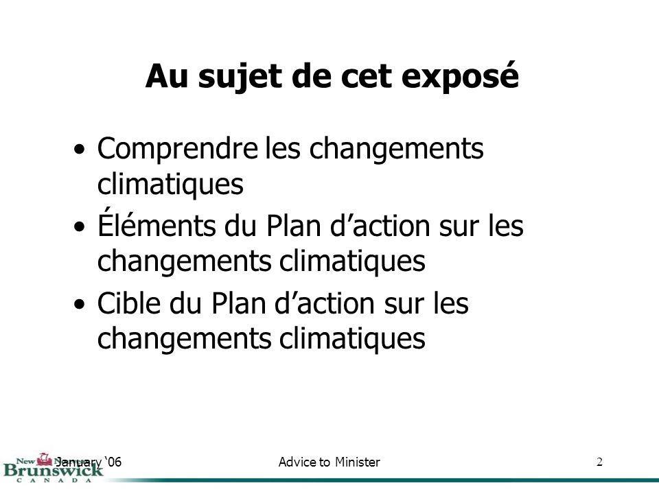 January 06Advice to Minister2 Comprendre les changements climatiques Éléments du Plan daction sur les changements climatiques Cible du Plan daction sur les changements climatiques Au sujet de cet exposé