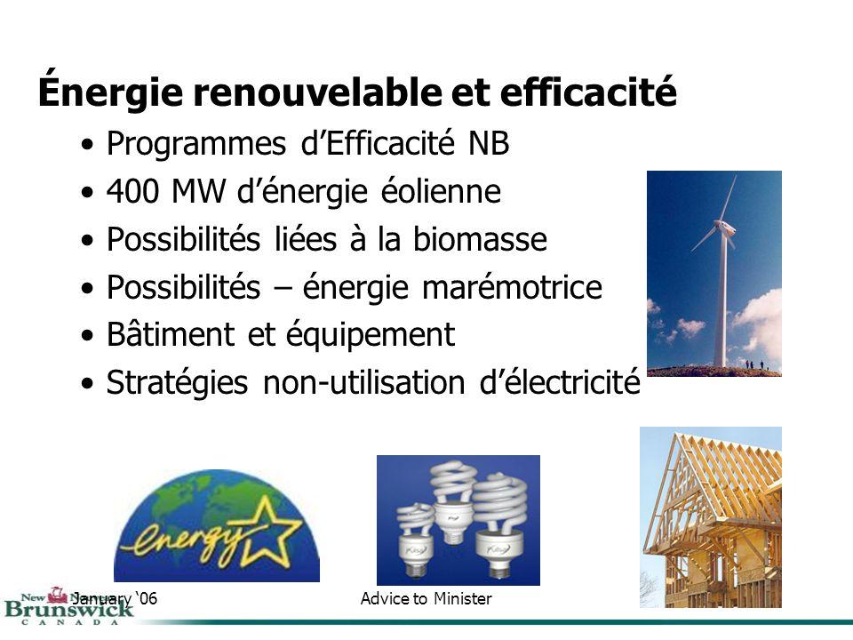 January 06Advice to Minister21 Énergie renouvelable et efficacité Programmes dEfficacité NB 400 MW dénergie éolienne Possibilités liées à la biomasse Possibilités – énergie marémotrice Bâtiment et équipement Stratégies non-utilisation délectricité