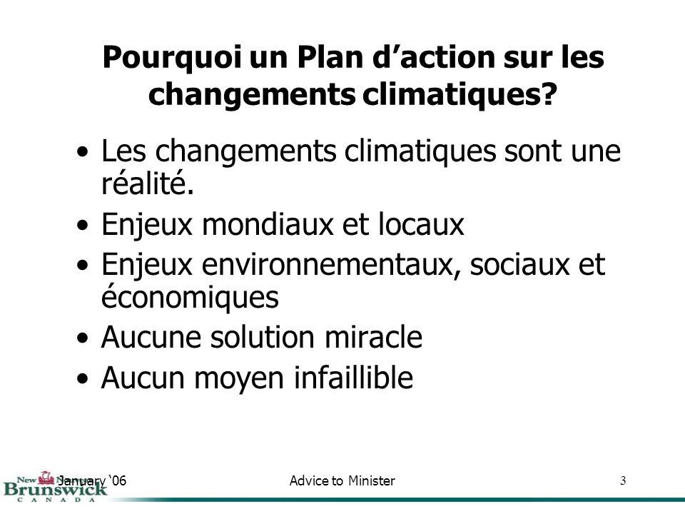 January 06Advice to Minister44 Réduction des émissions Adaptation Engagement communautaire Plan daction sur les changements climatiques du Nouveau-Brunswick