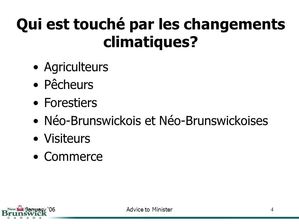 January 06Advice to Minister4 Agriculteurs Pêcheurs Forestiers Néo-Brunswickois et Néo-Brunswickoises Visiteurs Commerce Qui est touché par les changements climatiques