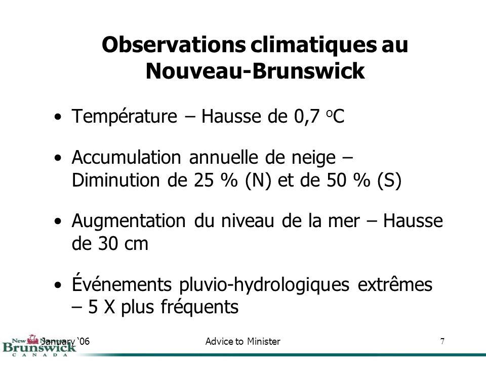 January 06Advice to Minister7 Observations climatiques au Nouveau-Brunswick Température – Hausse de 0,7 o C Accumulation annuelle de neige – Diminution de 25 % (N) et de 50 % (S) Augmentation du niveau de la mer – Hausse de 30 cm Événements pluvio-hydrologiques extrêmes – 5 X plus fréquents