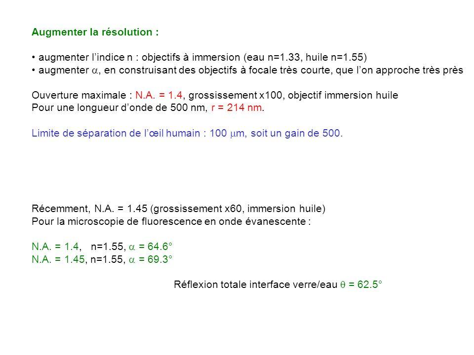 Augmenter la résolution : augmenter lindice n : objectifs à immersion (eau n=1.33, huile n=1.55) augmenter, en construisant des objectifs à focale trè