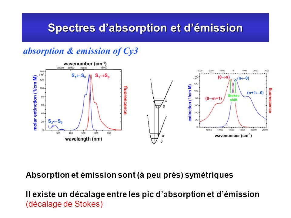 Spectres dabsorption et démission Absorption et émission sont (à peu près) symétriques Il existe un décalage entre les pic dabsorption et démission (d