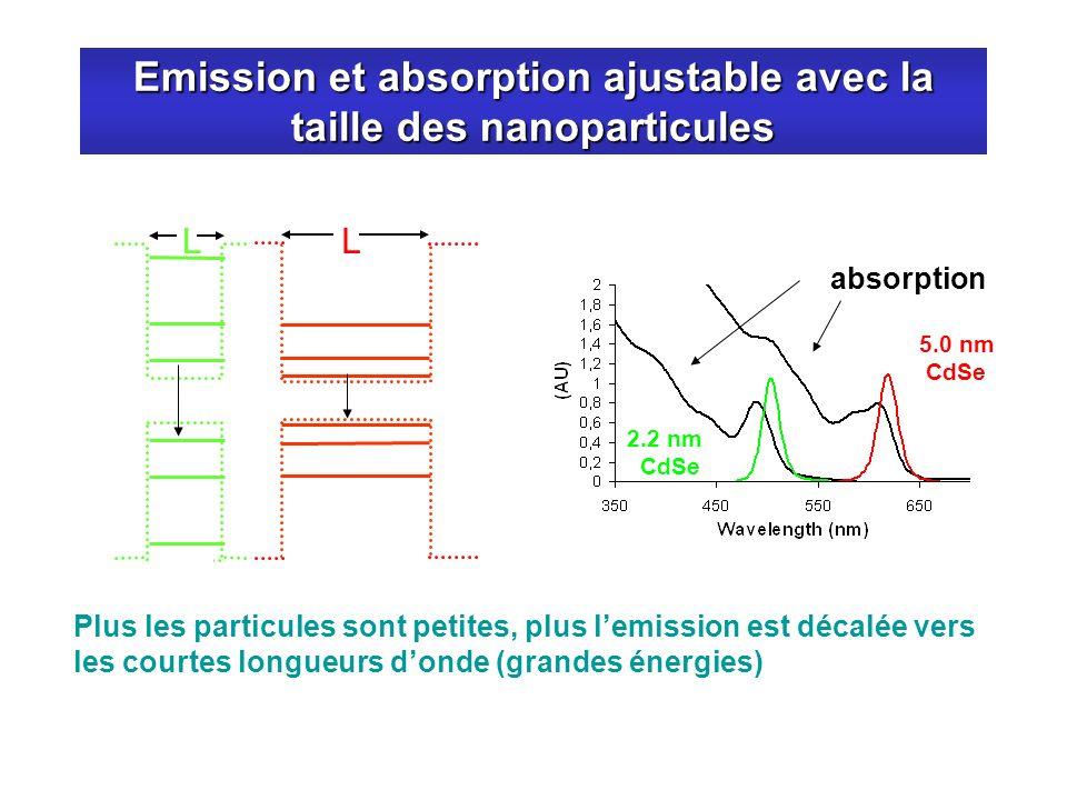 Emission et absorption ajustable avec la taille des nanoparticules 2.2 nm CdSe 5.0 nm CdSe absorption Plus les particules sont petites, plus lemission
