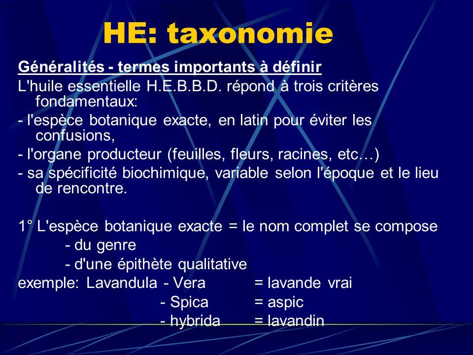 HE: taxonomie Généralités - termes importants à définir L huile essentielle H.E.B.B.D.